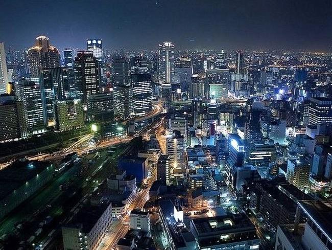 The view from the Osaka Sky Observatory at night