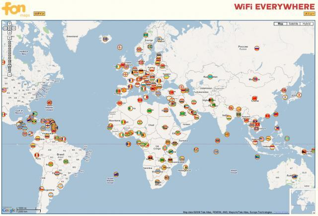 The FON WiFi network extends all over the world