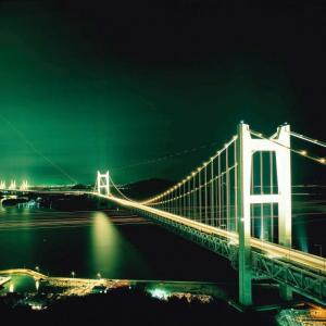 Seto-Ohashi bridge at night