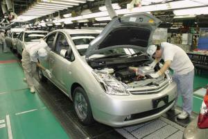 Prius, Toyota's hybrid vehicle, on the line at the Aichi Plant.
