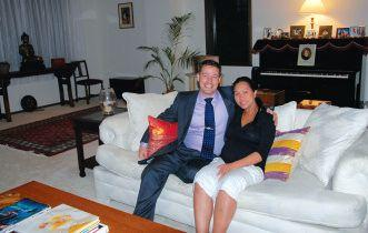 Mark Saft relaxing at home with his wife Kanya