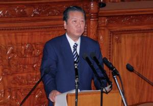 Mr Ozawa, leader of the DPJ, makes a speech to the Diet