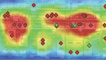 A heat map of brand recognition