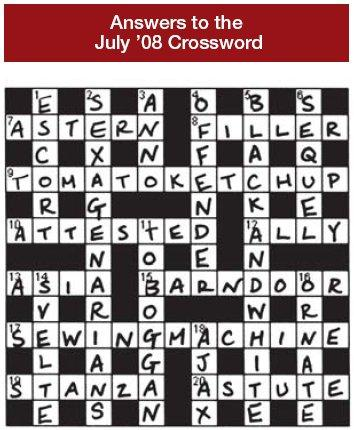 Answer to the July 2008 Crossword
