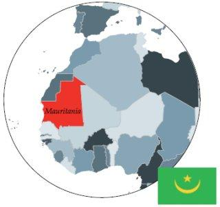 Map of Africa showing Mauritania