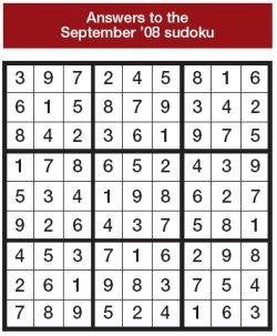 Answers to the September 2008 sudoku