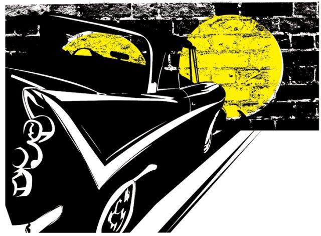 Illustration of a car in the dark in front of a wall.